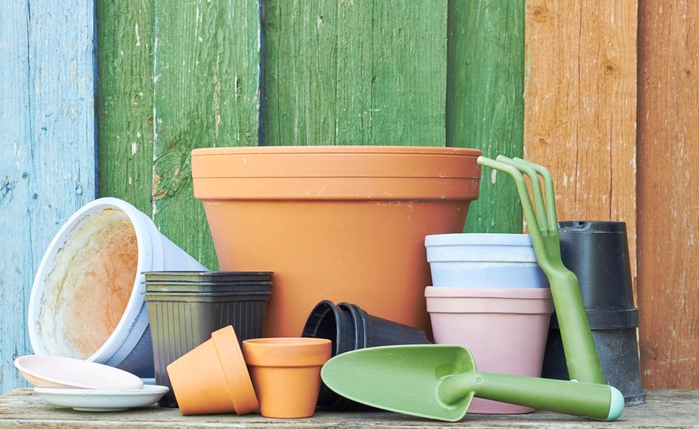 Plastic and terracotta pots - Rushfields